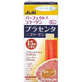 ASAHI Perfect Placenta & Collagen Jelly, Желе с коллагеном и плацентой со вкусом грейпфрута 5 саше