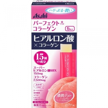 ASAHI Perfect Hyaluronic Acid & Collagen Jelly, Желе с коллагеном и гиалуроновой кислотой со вкусом персика 5 саше