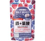 Orihiro Iron + Folic Acid, Жевательные витамины с железом и фолиевой кислотой со вкусом ягод на 30 дней