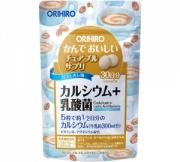 Orihiro Calcium + Lactic Acid Bacteria, Кальций + лактобактерии жевательные таблетки со вкусом кофе на 30 дней