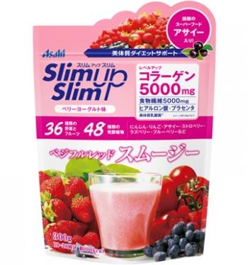 ASAHI SlimUpSlim Red Smoothie Berry Yogurt taste, Протеиновый смузи с коллагеном и пищевыми волокнами со вкусом ягодного йогурта 300 г